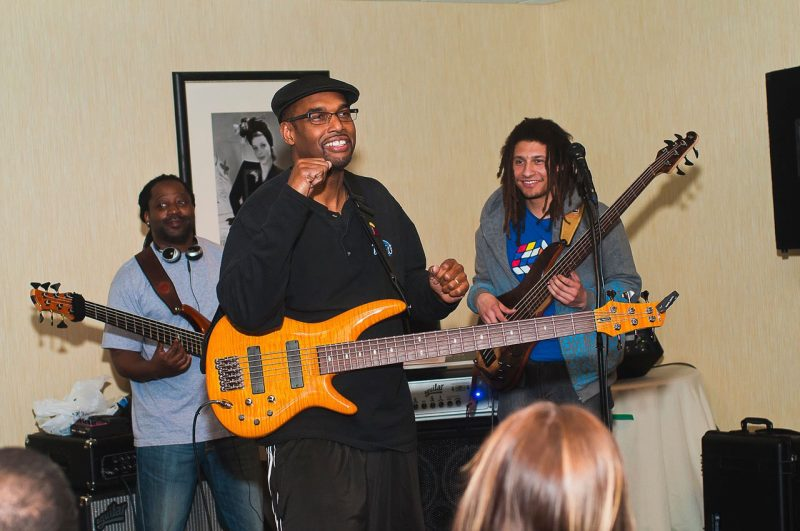 Gerald Veasley (center) makes a point to his Bass Boot Camp students. (Courtesy of Roxanne Veasley)