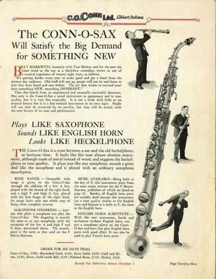 A 1928 ad for the Conn-O-Sax