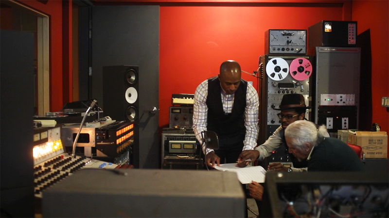Gary Bartz in the studio with Ali Shaheed Muhammad (L) and Adrian Younge of Jazz Is Dead.