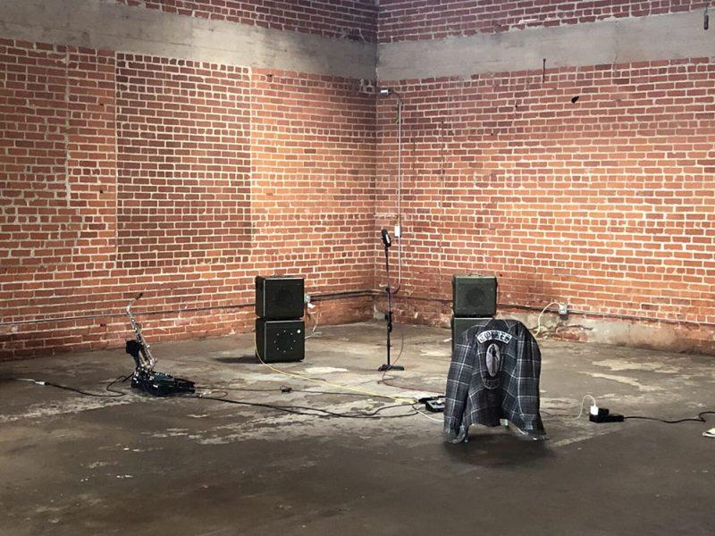Sam Gendel's live setup, featuring four custom Austen Hooks speakers.