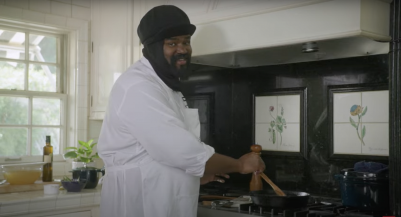 Gregory Porter in his kitchen