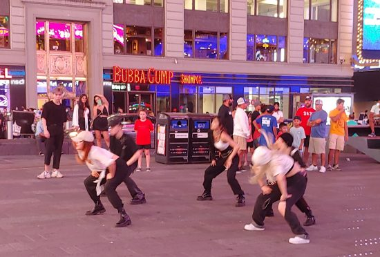 Local color in Times Square: A K-Pop dance performance (photo by Lee Mergner)